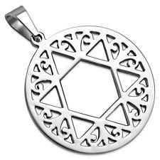 Zense - Pendentif acier pour homme étoile de David dans spirale de vigne ZP0224