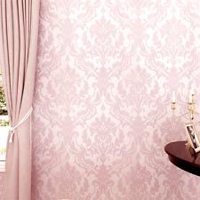 Modern Pink Glitter Flocking Textured Damask Mural Wall Paper Roll Living Room
