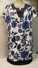 Susan Graver Weekend Blue White Dress Floral Polka Dot Tunic Heavy LG Long Top