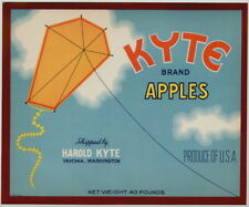 KYTE Vintage Yakima Washington Apple Crate Label Kite, *AN ORIGINAL FRUIT LABEL*