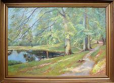 """Lake in the park"" oil on canvas, Danish artist Finn Wennerwald"