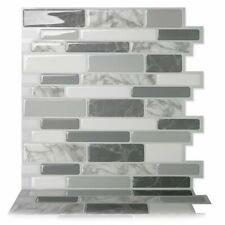 Tic Tac Tiles BRS12-10 Peel and Stick Self-Adhesive Decorative Mosaic Wall Backsplash Tile - Grey (10 Count)