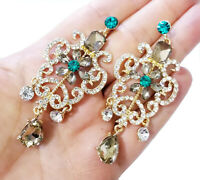 Multi Chandelier Drop Earrings 3 Inch Bridesmaid Prom Pageant Jewelry