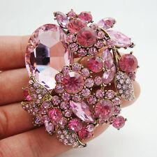 New Fashion Pretty Pink Flower Leaf Pendant Brooch Pin Rhinestone Crystal