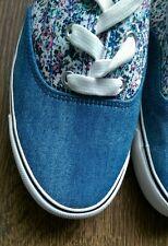 Ex NEW LOOK Denim floral lace-up pumps plimsolls trainer flat shoes  size UK 6
