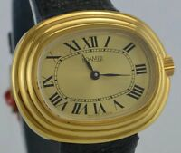 ROAMER Damen Armbanduhr - vergoldet / Handaufzug / Lederarmband