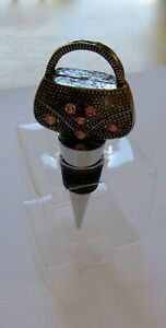 Cheers PURSE Wine Bottle  Stopper -silver color -metal- pink stones