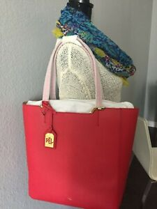 NEW Ralph Lauren ACADIA Shopper Tote $158 Bag Ladies Red COLLECTION Gift Brand
