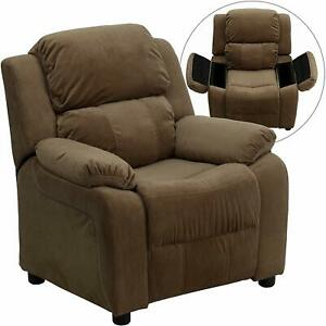 Flash Furniture Padded Brown Microfiber Kids Recliner with Storage Arms New