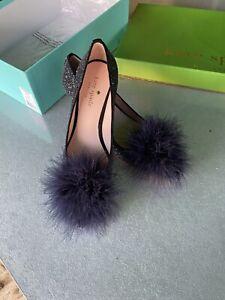Kate Spade Park Black Midnight Glitter Feather Pom Pom Mid Heel Court Shoe UK 4