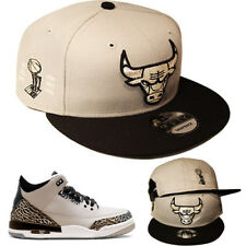 New Era Chicago Bulls Snapback Hat Match Air Jordan Retro 3 Wolf Grey Black Cap