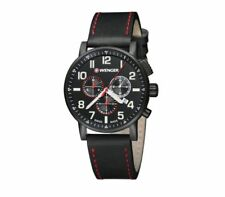 Wenger 01.0343.104 Men's Attitude Black Dial Black IP Steel Leather Strap Watch