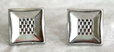Vintage HICKOK Silver Tone Cufflinks. Wide Square Frames w Rolled Chain Centers