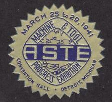 Poster stamp, ASTE Machine & Tool Progress Exhibition, Detroit, 1941, MNH