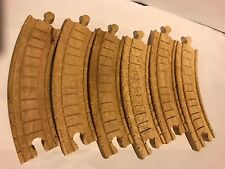 """LOT OF 6 CURVED CLICKETY CLACK 6"""" INCH TRACK PIECES Thomas Train Wooden Clickity"""