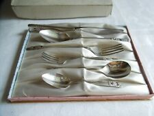 Vintage Silver Plate Christening Child's Cutlery Set Community Plate, Boxed