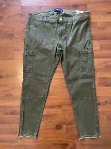 Womens Juniors Size 15 NWT Hollister Crop Olive Army Green Pants Cargo