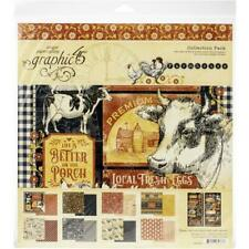 "Graphic 45 'FARMHOUSE' 12x12"" Collection Paper Pack + Stickers Farm/Cows"
