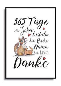 Fine-Art Kunstdruck Bild DANKE FÜR 365 TOLLE TAGE IM JAHR Mama Geschenk Poster