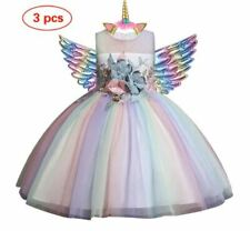 NEW CUTE Kids Girls Unicorn Princess Rainbow Dress 3pcs