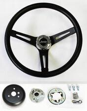 "1976-1995 Jeep CJ5 CJ7 YJ Classic Black Grip on Black Steering Wheel 13 1/2"""