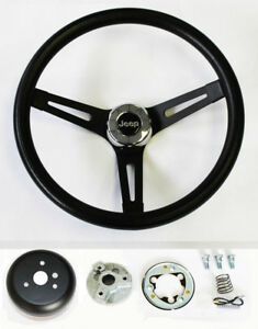 1976-1995 Jeep CJ5 CJ7 YJ Classic Black Grip on Black Steering Wheel 13 1/2""
