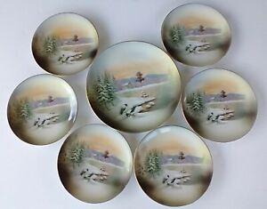 RS Germany Porcelain Cake Plate & 6 Dessert Plates Snow Birds Scene Decor