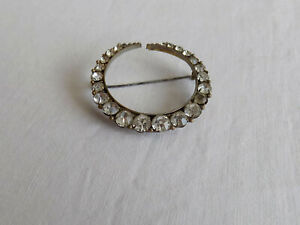 Beautiful Vintage Circular Crescent Brooch with Sparkling Clear Paste Stones