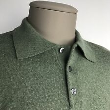 Murano Raffi Polo Shirt Green Merino Wool Long Sleeve Made in Italy, Men's Large