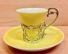 "Aynsley ""Yellow"" Coffee Cup & Solid Silver Holder London 1920."