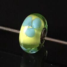 Trollbeads RETIRED Glass Turquoise Flower 61322 Bead