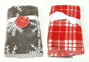 NEW SET OF 2 BALSAM & FIR RED PLAID & GRAY,WHITE SNOW FLAKES HAND TOWELS-TURKEY