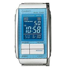Casio LA201W-2B Ladies Stainless Steel FUTURIST Blue Silver LCD Watch Dual Time