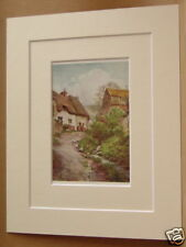 SUTTON POYNTZ COTTAGES DORSET ANTIQUE MOUNTED PRINT OLD