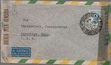 1944 Sao Paulo Brazil Dual censored Airmail cover to USA