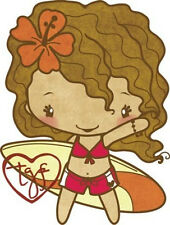 SURFER ANYA-The Greeting Farm Cling Mount Rubber Stamp-Stamping Craft-RETIRED