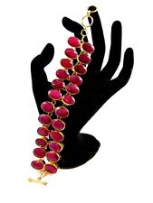 18K Gold Plated Ruby Gemstone Cluster Toggle Bracelets Alloy Overlay Jewelry