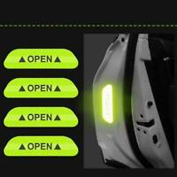 4Pcs Safety Reflective Tape Open Sign PET Warning Mark Door Sticker Car F0B6