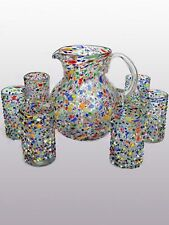 Mexican Glassware - Confetti rocks pitcher and 6 drinking glasses set