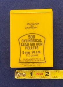 Benjamin-Sheridan 500 Cylindrical 5mm/.20 cal. Lead Pellets: Yellow Plastic Box