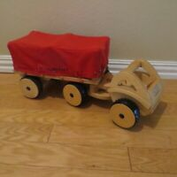 Guidecraft Cito Wood Block Truck & Trailer Toy Guide Craft City Wooden Tow Rig