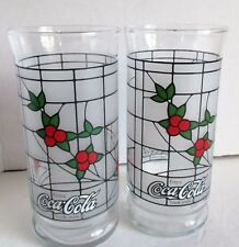 2 Vintage Christmas Coca Cola Glasses White Frosted W Red Berries/Holly 6""