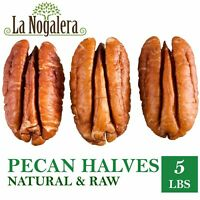 Fresh Crop of raw and shelled Pecan nut halves in 5 lbs vacuum sealed bag