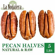 Raw Pecans, 5 lbs vacuum bag of HALVES, 100% Natural pecan nuts