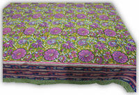 Hand Block Print India Tablecloth cover 100%Cotton Floral Green Rectangular Twin
