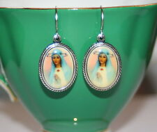Vintage Guadalupe portrait mother mary glass cameo antiqued silver earrings