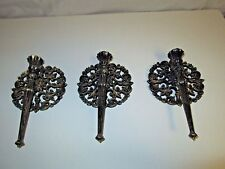 VINTAGE 3 GOTHIC SCONCES 1973 USA MEDIEVAL CANDLE HOLDERS WALL Black Bronze tone