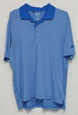 Adidas Golf ClimaLite Chapel Steel Mens Blue Stripe Poly Spandex Polo Shirt L