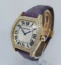 Cartier Tortue 18k Yellow Gold Diamond Manual LARGE Watch 2496 B&Ps