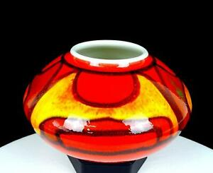 """POOLE POTTERY ENGLAND #32 GILLIAN TAYLOR SIGNED DELPHIS PATTERN 4"""" VASE 1971-72"""